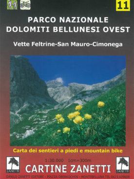 Vette Feltrine - San Mauro - Cimonega. Carta dei sentieri a piedi e mountain bike. Mappa scala 1:30.000 Cartine Zanetti nr. 11