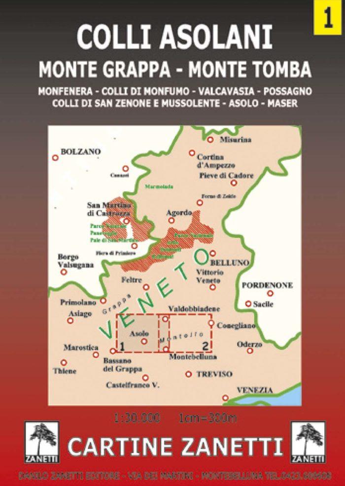 Colli asolani, Monte Grappa, Monte Tomba, Monfenera, colli di Monfumo, Valcavasia, Possagno, colli di San Zenone e Mussolente, Asolo, Maser Mappa scala 1:30.000 Cartine Zanetti nr. 1.
