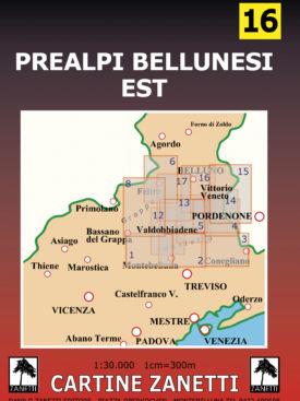 Prealpi Bellunesi Est Mappa scala 1:30.000 Cartine Zanetti nr. 16