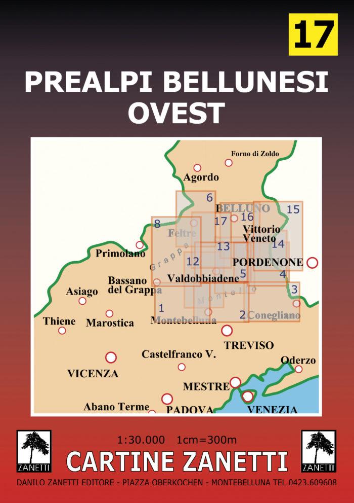 Prealpi Bellunesi Ovest Mappa scala 1:30.000 Cartine Zanetti nr. 17