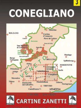 Conegliano Mappa scala 1:30.000 Cartine Zanetti nr. 3.