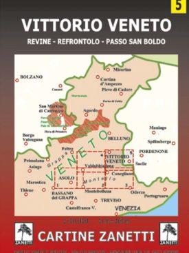 Vittorio Veneto. Revine, Refrontolo, Passo San Boldo Mappa scala 1:30.000 Cartine Zanetti nr. 5.
