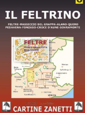 Il feltrino Feltrino, Feltre, Massiccio del Grappa, Alano, Quero., Pedavena, Fonzaso, Croce d'Aune, Sovramonte. Mappa scala 1:30.000 Cartine Zanetti nr. 6.