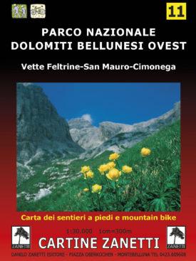 Parco Nazionale Dolomiti Bellunesi, Vette Feltrine, San Mauro, Cimonega Mappa scala 1:30.000 Cartine Zanetti nr. 11