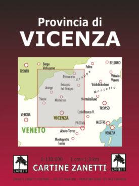 Provincia di Vicenza Mappa scala 1:130.000